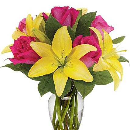Yellow Lilies And Pink Roses Vase