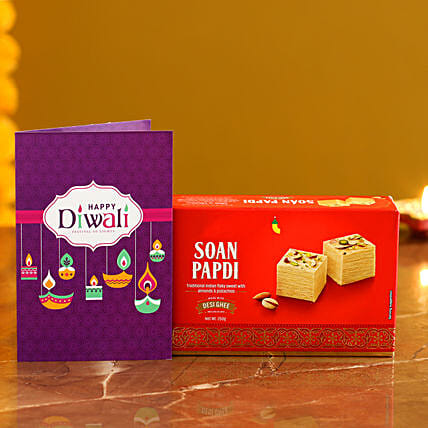 Soan Papdi With Diwali Card:Diwali Gift Delivery in USA