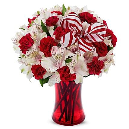 Exotic Christmas Peppermint Bouquet:Carnations
