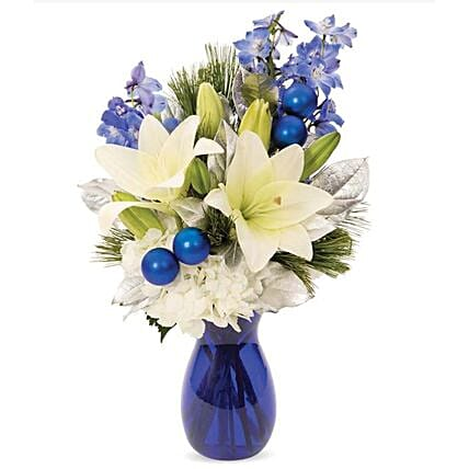 Pearly Winter Lily Bouquet:Send Carnation Flower to USA