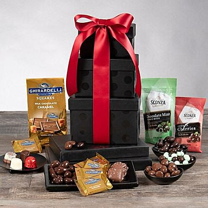 Festive Gourmet Chocolate Gift Tower:Hampers USA