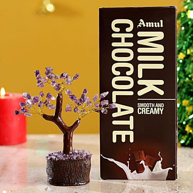Colourful Stone Wish Tree & Chocolate