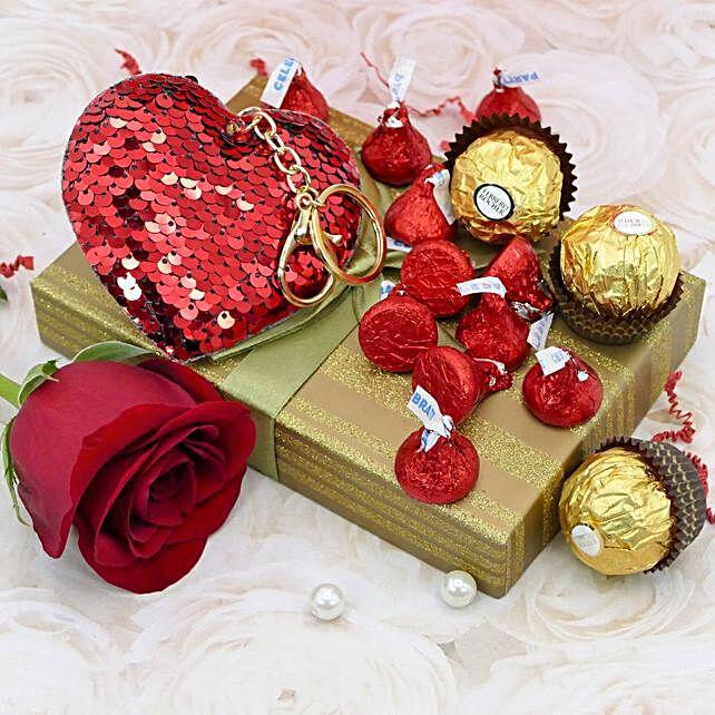 Heart Keychain And Ferrero Rocher Combo