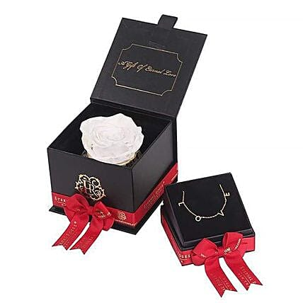 White Eternal Rose And Necklace