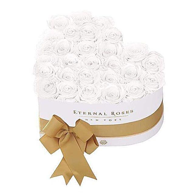 White Heart Shape Eternal Roses