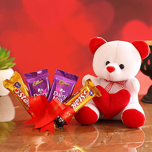 Cute Teddy With Chocolates