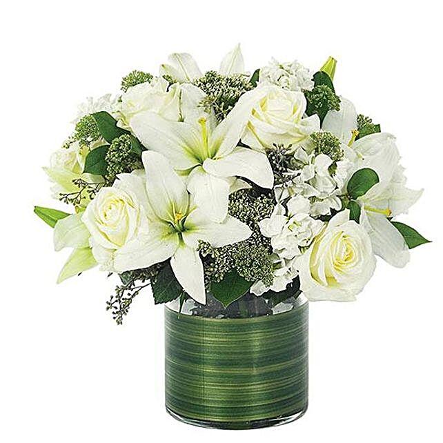 Easter Special Lily And Rose Vase Arrangement