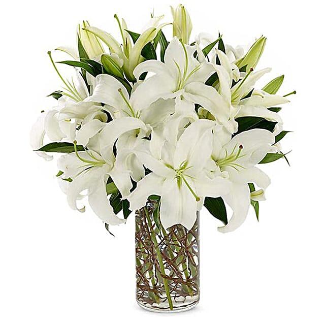 Easter Special White Lilies Vase Arrangement