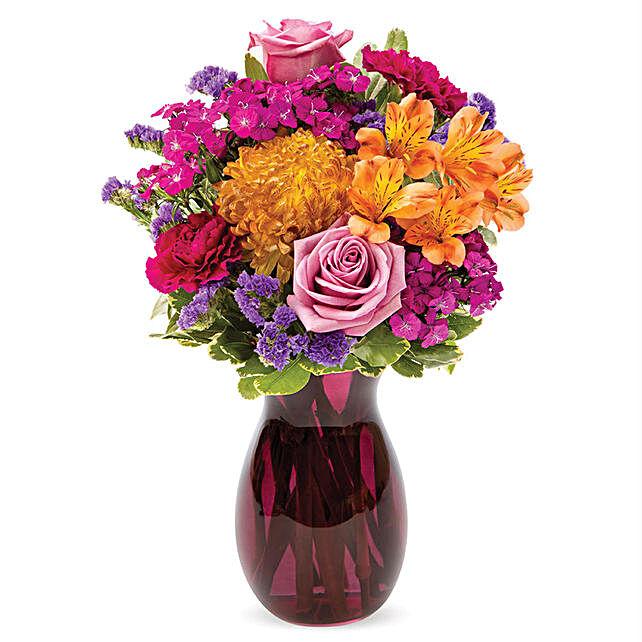 Premium Assorted Flowers Purple Vase Arrangement