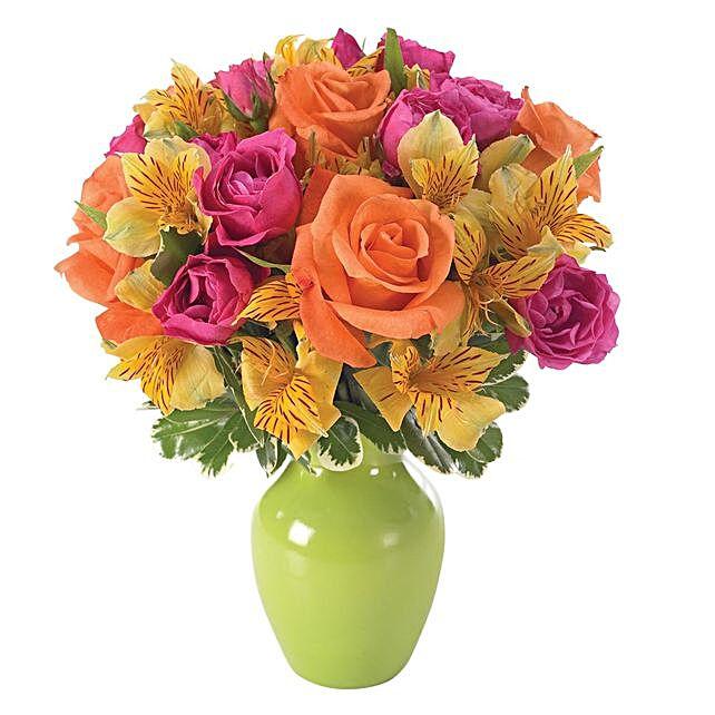 Blissful Assorted Flowers Vase Arrangement