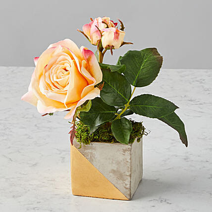 Mothers Day Striking Faux Flowers Rosa Arrangement:Send Gifts for Mother in USA