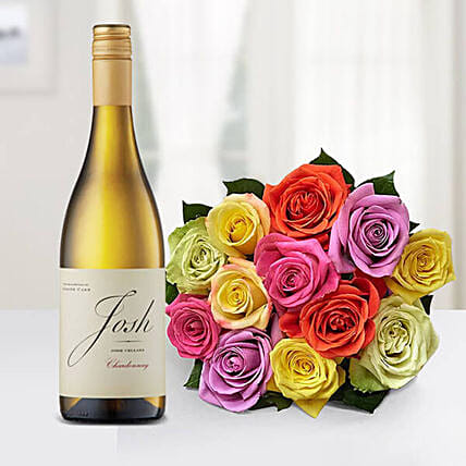 12 Mixed Roses Bouquet With Josh Cellars Wine:Send Wine Gift Basket to USA