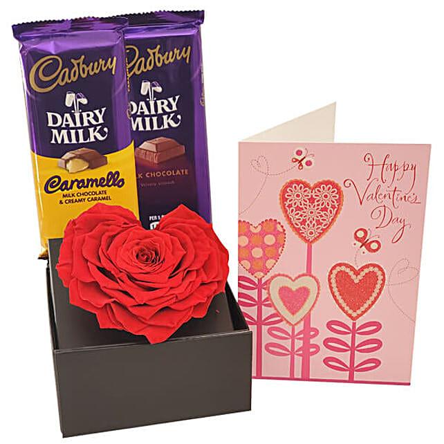 Eternal Red Rose N Dairy Milk Chocolates With Card