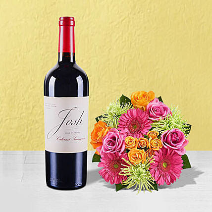 Mixed Flowers Bouquet N Red Wine Combo:Send Wine Hampers to USA