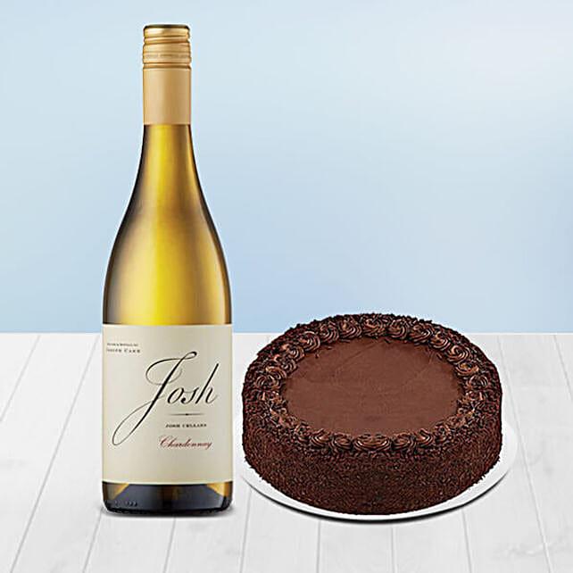 Tempting Chocolate Cake With Josh Cellars Wine:Send Wine Hampers to USA