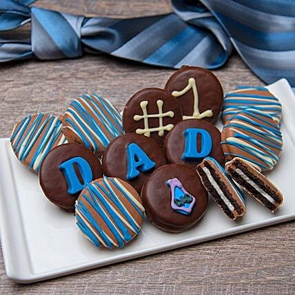 No 1 Dad Belgian Chocolate Oreo Cookies:Father