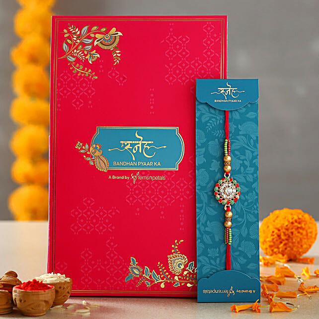 American Diamond Flower Rakhi:Rakhi Gifts for Brother in USA