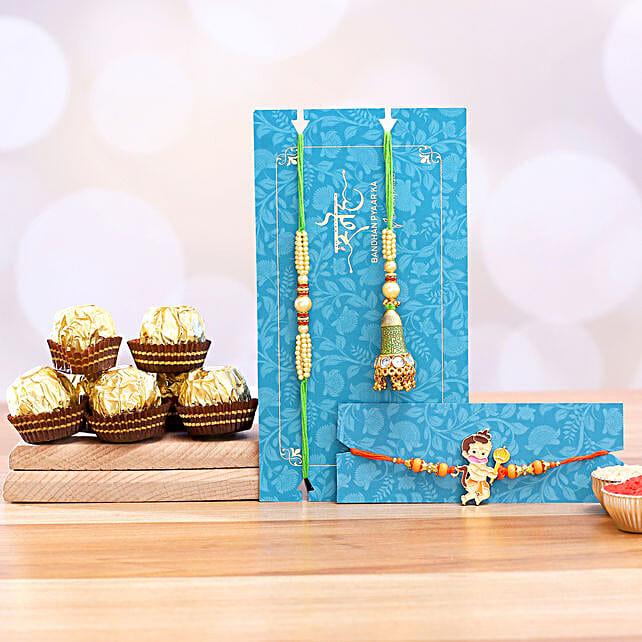 Bal Hanuman And Green Lumba Rakhi Set With 3 Pcs Ferrero Rocher