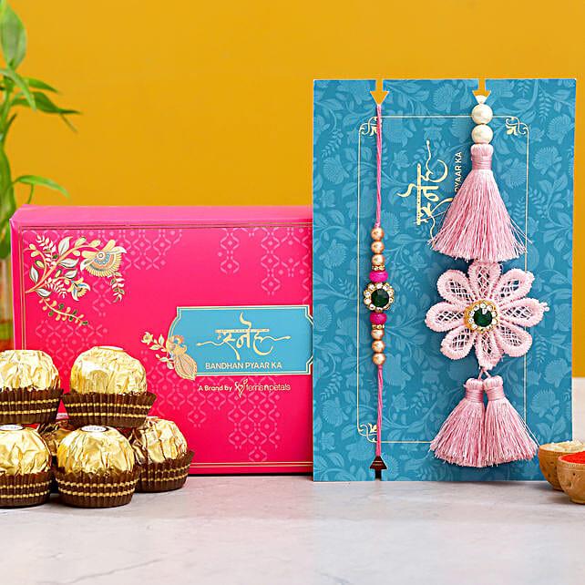 Crochet Flower Lumba Rakhi Set With 3 Pcs Ferrero Rocher