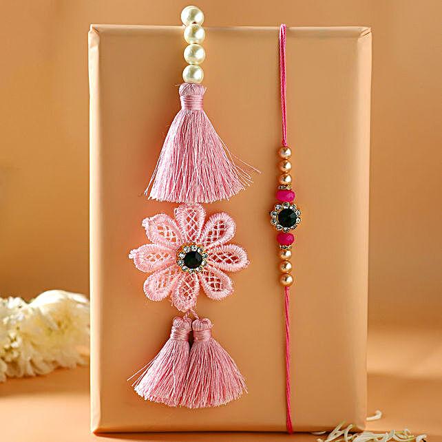 Crochet Flower Pearl And Lumba Rakhi