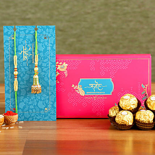 Ethnic Green Pearl And Lumba Rakhi Set With 3 Pcs Ferrero Rocher