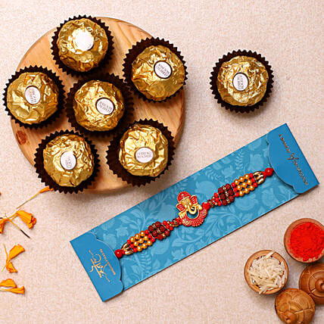 Ganesha And Rudraksha Rakhi With 3 Pcs Ferrero Rocher:Rakhi for Brother in USA