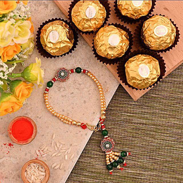 Green Bracelet Style Rakhi And 3 Pcs Ferrero Rocher:Rakhi for Sister