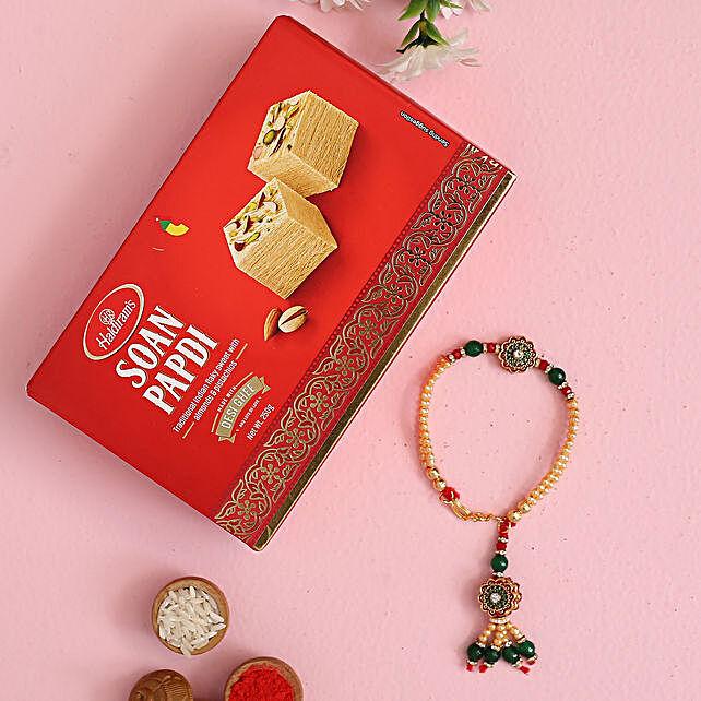 Green Bracelet Style Rakhi And Soan Papdi