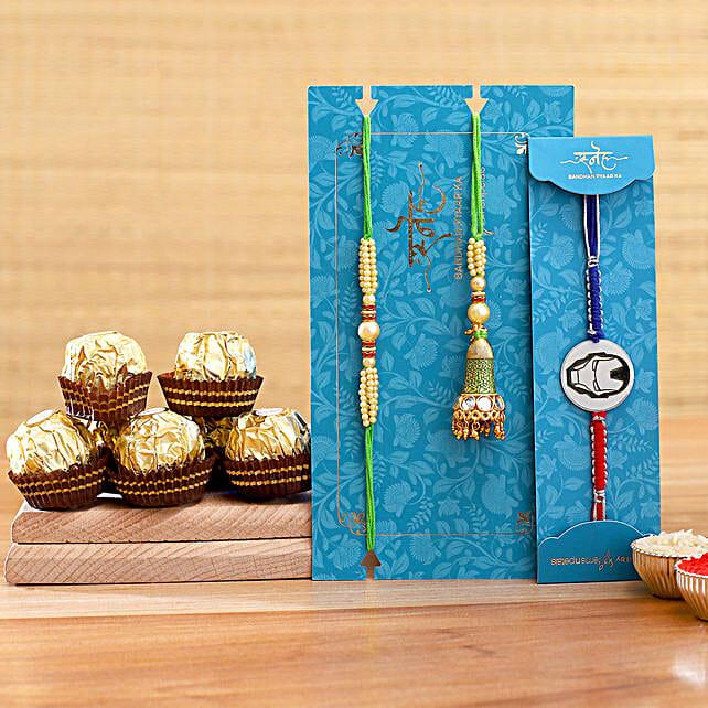 Green Lumba Rakhi Set And Ironman Rakhi With 3 Pcs Ferrero Rocher:Send Cartoon Rakhi to USA