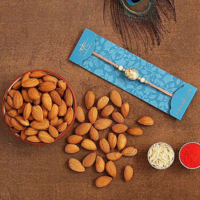Japanese Stone Designer Rakhi And Healthy Almonds:Rakhi for Brother in USA