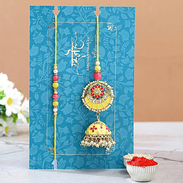 Jhumki Style Pearl Lumba Rakhi:Rakhi Sets