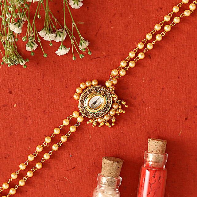 Kundan Bracelet Style Rakhi