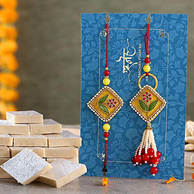 Rajasthani Embroidered Lumba Rakhi Set With Kaju Katli