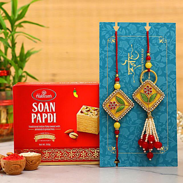 Rajasthani Embroidered Lumba Rakhi Set With Soan Papdi