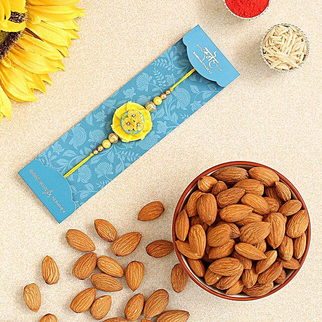 Yellow Flower Pearl Kids Rakhi And Healthy Almonds