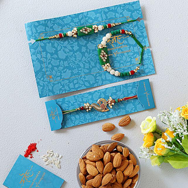 Green Pearl And Peacock Lumba Rakhi Set With Healthy Almonds