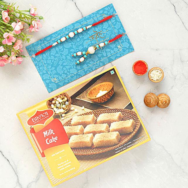 Blue Lumba Rakhi Set And Milk Cake Combo