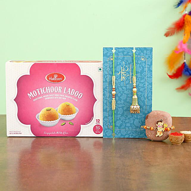 Green Lumba Set And Hanuman Kids Rakhi With Sweets
