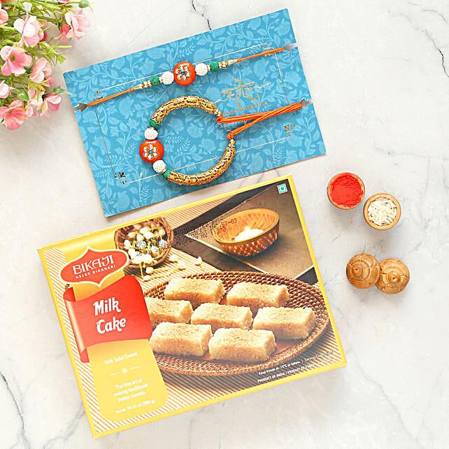 Orange Lumba Rakhi Set And Milk Cake Combo:All Rakhi - USA