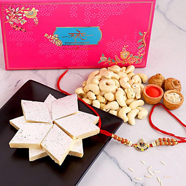 Balaji Rudraksha Rakhi And Cashew With Kaju Katli:Rakhi and Sweets to USA