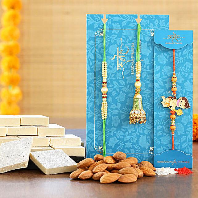 Bal Hanuman And Lumba Rakhi Set With Almonds And Kaju Katli