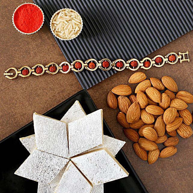 Rudraksha Bracelet Rakhi And Almonds With Kaju Katli:Rakhi and Sweets to USA