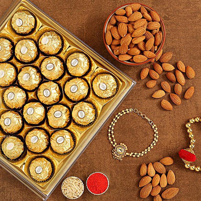Kundan Bracelet Rakhi And Almonds With Ferrero Rocher:Rakhi for Sister
