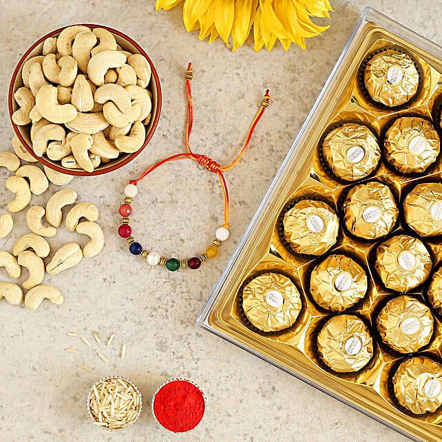 Navrattan Bracelet Rakhi And Cashew With Ferrero Rocher