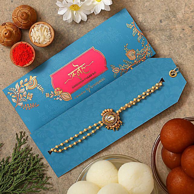 Kundan Pearl Bracelet Rakhi With Gulabjamun And Rasgulla