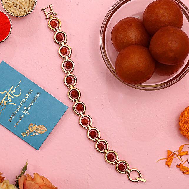 Rudraksha Bracelet Style Rakhi And Gulab Jamun:Rudraksha Rakhi to USA