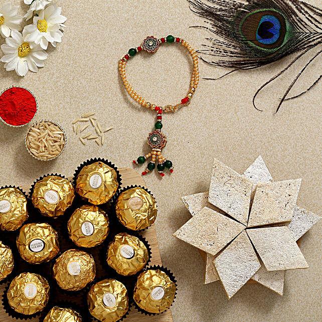 Green Bracelet Rakhi With Kaju Katli And Ferrero Rocher:Rakhi for Sister