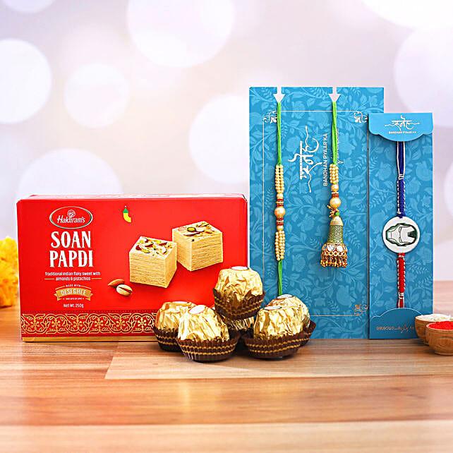 Lumba Rakhi Set And Ironman Rakhi With Soanpapdi And Ferrero Rocher