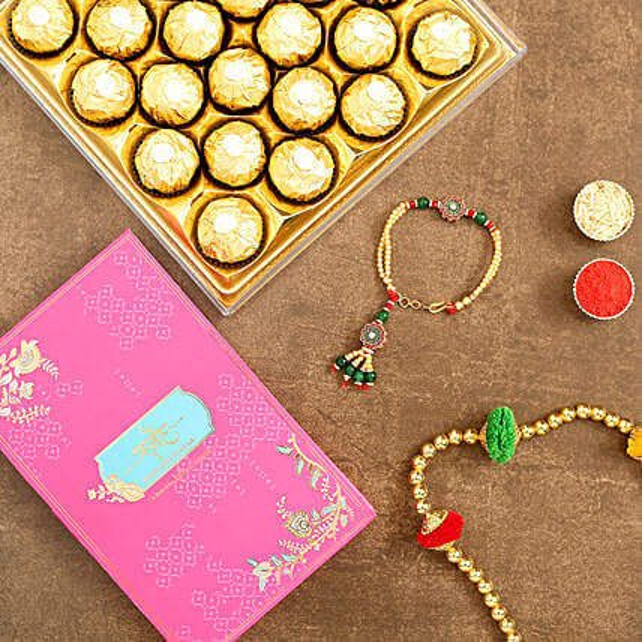Green Bracelet Style Rakhi And 12 Pcs Ferrero Rocher