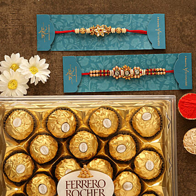 American Diamond Designer Rakhis And 12 Pcs Ferrero Rocher